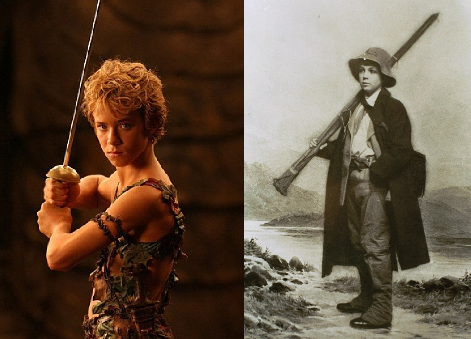 Above: Left, Jeremy Sumpter as Peter Pan, in the 2003 film, Peter Pan. Right: Michael Llewelyn-Davies, Taken in 1912, Scotland