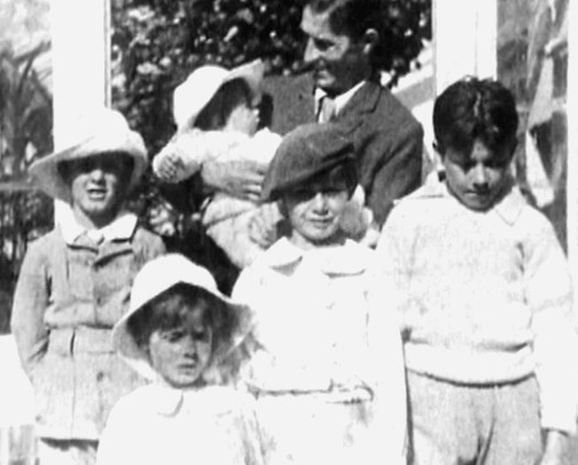 The Davies boys: Nico (in his father Arthur's arms), Jack (L), Peter (centre), George, (R) and Michael (in front), 1903